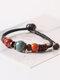 Vintage Ethnic Geometric-shape Beaded Braided Ceramics Alloy Elastic Rope Bracelets - #02