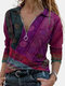 Ethnic Printed Long Sleeve V-neck Zip Front Blouse For Women - Purple
