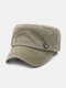 Men Washed Made-old Cotton Solid Color Letter Label Sunscreen Casual Military Cap Flat Cap - Army Green