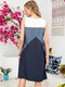 Solid Color Patchwork O-neck Sleeveless Pocket Casual Dress for Women - Blue