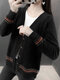 Tribal Pattern Button Long Sleeve Knitted V-neck Cardigan - Black