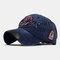 Old Washed Cowboy Baseball Cap 3D Letters Three-Dimensional Embroidered Sun Hat - Navy