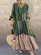 Vintage Floral Print Patchwork Long Sleeve Dress with Pockets - Green