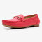 Women Metal Detail Flat Leather Comfy Breathable Casual Loafers - Red