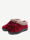 Women Round Toe Casual Dot Print Warm Fluff Lining Comfortable Flat Ankle Cotton Boots - Red