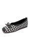 Women Houndstooth Loafers Shoes Comfy Soft Elegant Bowknot Flats Ballet Shoes - Black