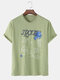 Mens Cotton Space Astronaut Printed Loose Short Sleeve T-Shirts - Green