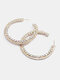 Trendy Rhinestone Earrings Temperament Metal Circle Earrings - Colorful