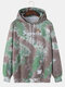 Mens Tie-Dye Letter Chest Print Loose Daily Kangaroo Pocket Pullover Hoodies - Green