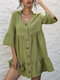 Lapel 3/4 Length Sleeve Solid Color Button Women Casual Dress - Green