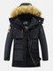Mens Winter Thicken Multi-Pocket Zipper Fur Hooded Warm Down Coat - Navy