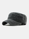 Men Cotton Solid Color Outdoor Sunshade Military Hat Flat Hat Peaked Cap - Black