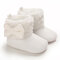 Baby Toddler Shoes Bowknot Decor Plush Warm Lined Soft Snow Boots - White