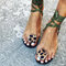 Women Leopard Ring Toe Lace Up Flat Casual Rome Sandals - Green