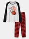 Mens Halloween Pumpkin Print Plaid Patchwork Raglan Sleeve Pajamas Sets - White