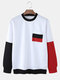 Mens Contrast Patchwork Crew Neck Casual Pullover Sweatshirts - White