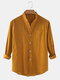 Mens Cotton & Linen Solid Color Thin Casual Long Sleeve Shirts With Pocket - Brown