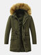 Mens Drawstring Waist Winter Warm Thick Fur Hooded Parkas With Pockets - Army Green