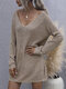 Solid Color V-neck Long Sleeves Knit Sweater Dress for Women - Khaki