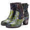 SOCOFY Retro Embroidery Floral Printed Leather Splicing Side Zipper Casaul Chunky Heel Short Boots - Blue