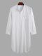 通気性の長さのヘンリー襟のデザイントップス無地コットンリネンカジュアルローブ男性用 - 白い
