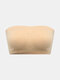 Women Solid Color Seamless Wireless Removable Chest Pad Bandeau Bra - Nude