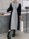 Contrast Color Patchwork Casual Long Sleeve Hoodie Dress - Gray