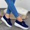 Women's Soft Lace-up Casual Large Size Wedges Sports Shoe - Blue