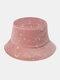 महिला कढ़ाई सितारे और चंद्रमा पैटर्न प्रिंट आरामदायक Soft आउटडोर यात्रा बाल्टी टोपी - गुलाबी