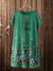 Ethnic Floral Embroidery Plus Size Linen Beaches Dress with Pocket - Green