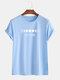 Mens Planet Printed Round Neck Casual Short Sleeve T-shirts - Light Blue