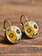 Vintage Flower Pattern Women Earrings Glass Printed Pendant Earrings Ear Hooks - #04