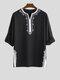 Mens Ethnic Style Stitching Print Cropped Half Sleeve Shirts - Black
