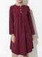Solid Color Button Front Long Sleeve Maxi Blouse For Women - Wine Red