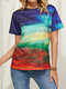 Illustration Painted Print O-neck Short Sleeve Casual T-shirt for Women - Blue