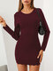 Solid Color O-neck Long Sleeve Mini Casual Dress For Women - Wine Red