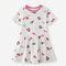 Girl's Cute Ice Cream Fruit Print Short Sleeves Casual Dress For 1-8Y - White