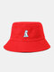 Unisex Cotton Solid Color Cartoon Little Dinosaur Embroidery All-match Sun Protection Bucket Hat - Red