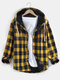 Mens Plus Velvet Plaid Warm Thick Cotton Hooded Shirts With Pocket - Yellow