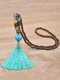 Vintage Ethnic Tassel Pendant Alloy Turquoise Chicken Wing Wood Beads Necklace - Blue