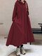Solid Color Hooded Pockets Casual Loose Long Hoodie Dress - Wine Red