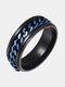 男性のためのチタン鋼回転スタイリッシュチェーンリング - 青