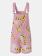 Calico Print Pocket Mid Waist Casual Denim Jumpsuit For Women - Pink