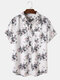 Mens All Over Plant Floral Print Chest Pocket Holiday Short Sleeve Shirt - Off White