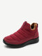 Women Solid Color Waterproof Snow Boots Casual Warm Ankle Boots - Red