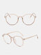 Anti-Blue Glasses Men Flat Mirror Full Frame Women Myopia Eyeglasses Frame - Rose Gold