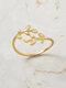Vintage Diamond Leaf Cross Opening Metal Artificial Gemstone Rings - Gold