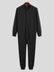 Pure Color Casual Thin Soft Home Long Sleeve O-Neck Button Jumpsuit Onesies For Men - Black