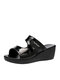 Women Mesh PU Design Casual Outdoors Slip On Wedges Heels Slippers - Patent Leather Black