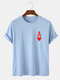 Mens Ace Of Hearts Poker Print 100% Cotton Short Sleeve T-Shirts-9 Colors - Blue